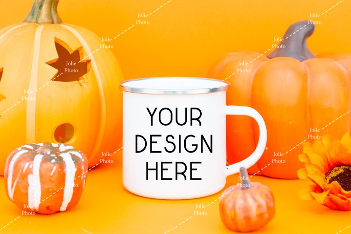 Blank White Enamel Coffee Cup Camp Mug Fall Autumn Mockup
