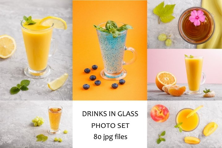 Drinks and fruit juice in glass
