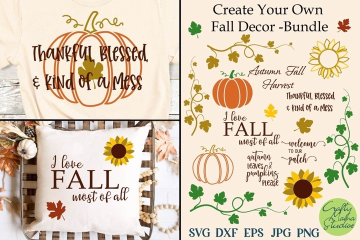Create Your Own Fall Decor Svg Bundle, Autumn Cut File