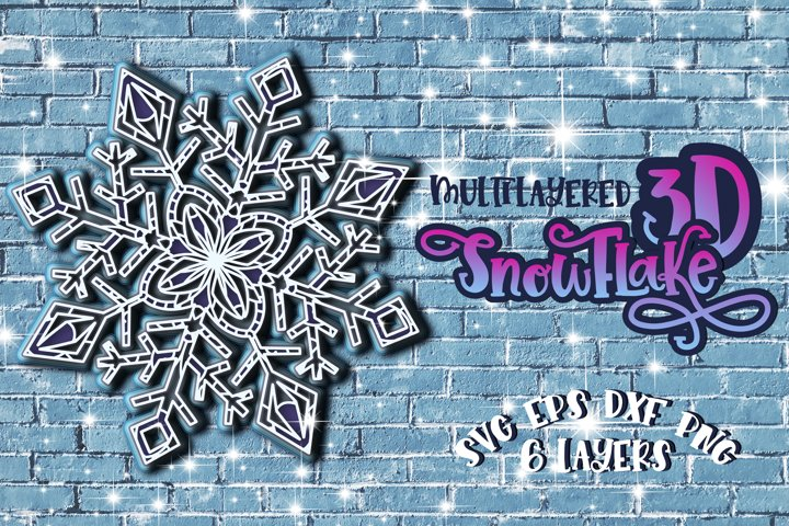 3D Layered Snowflake svg Papercut Merry Christmas 3d Winter