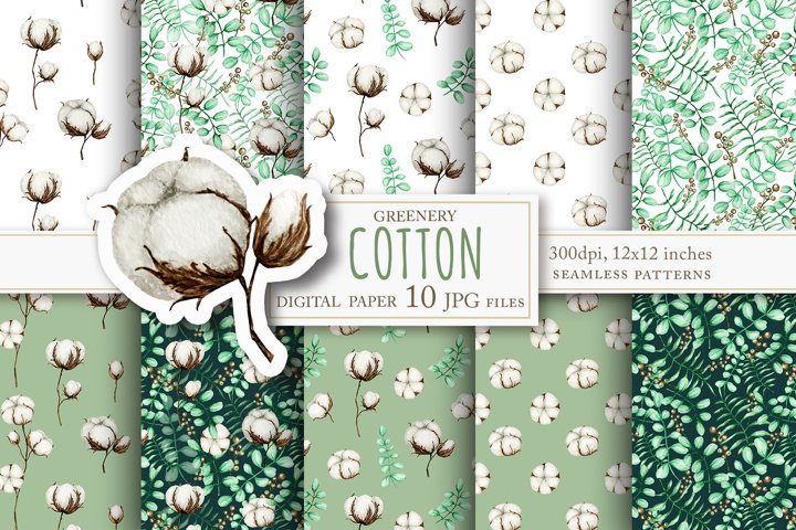 Cotton flowers and Eucalyptus leaves Watercolor patterns