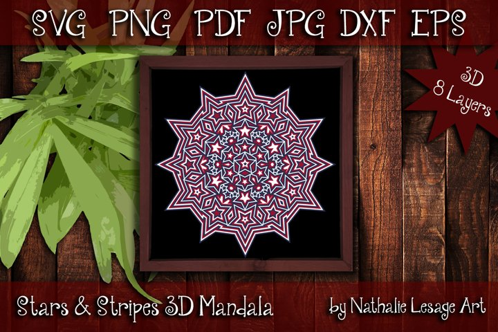 3D Mandala 8 Layers Stars and Stripes SVG Cut File 4th July