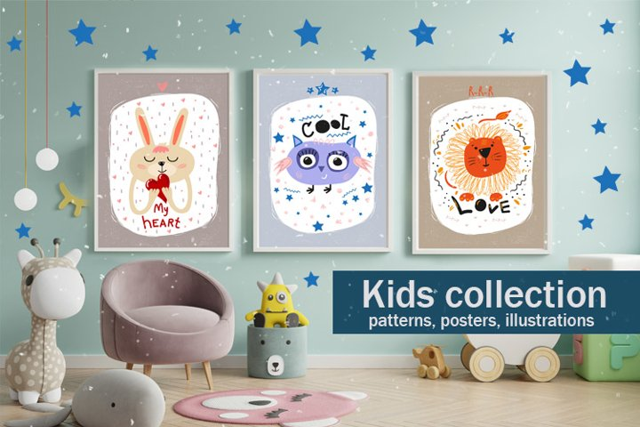Childrens collection of posters, patterns and illustrations