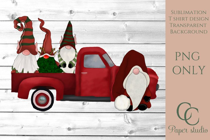 Gnome Sublimation design - Santa truck - Christmas design