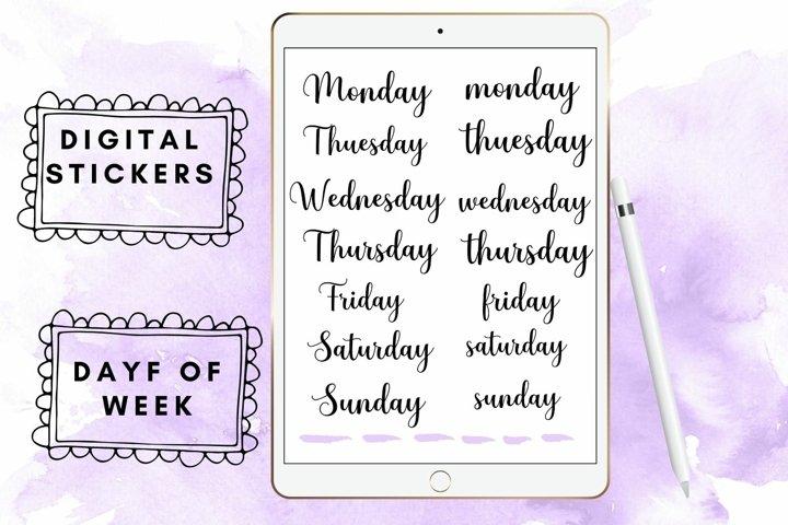 Handwritten Week Names, GoodNotes Stickers, Digital Bullet
