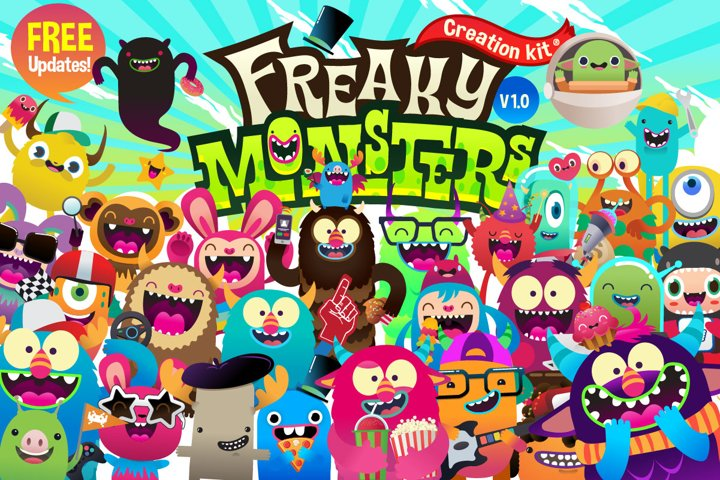Freaky Monsters | Creation kit | Funny | Characters | Vector