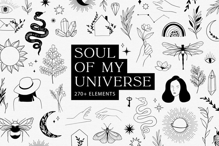 Soul of my universe. Line Logo illustrations. Branding