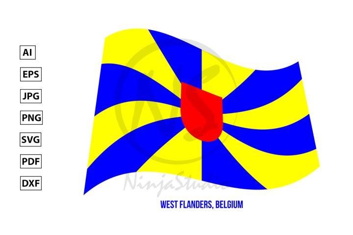 West Flanders Flag Waving. Provinces Flags of Belgium