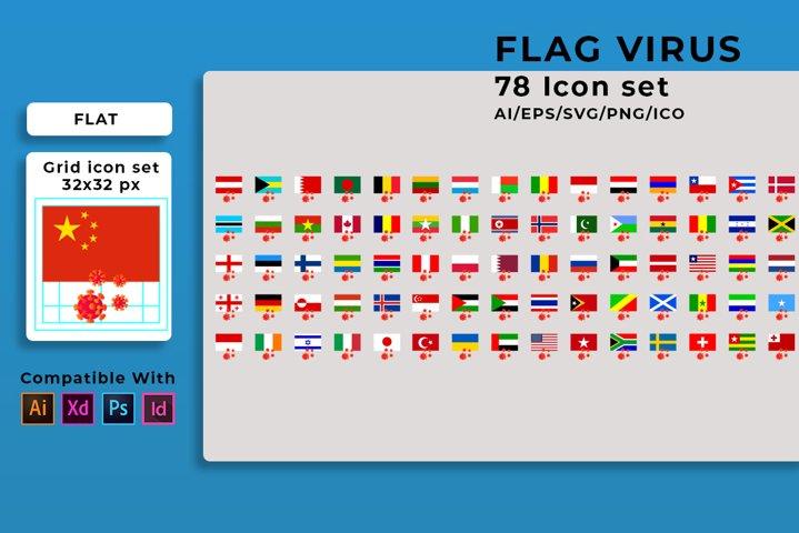 78 Icon Flag Corona virus