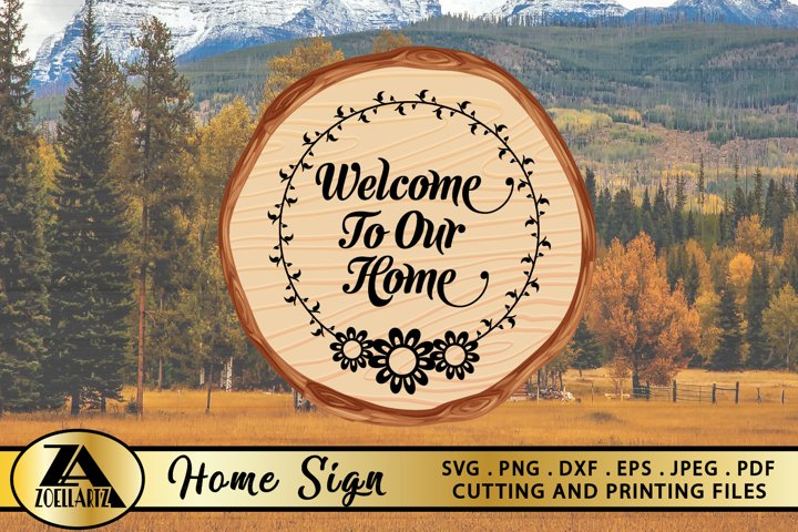 Welcome Home SVG PNG EPS DXF Wood Sign SVG Farmhouse Sign