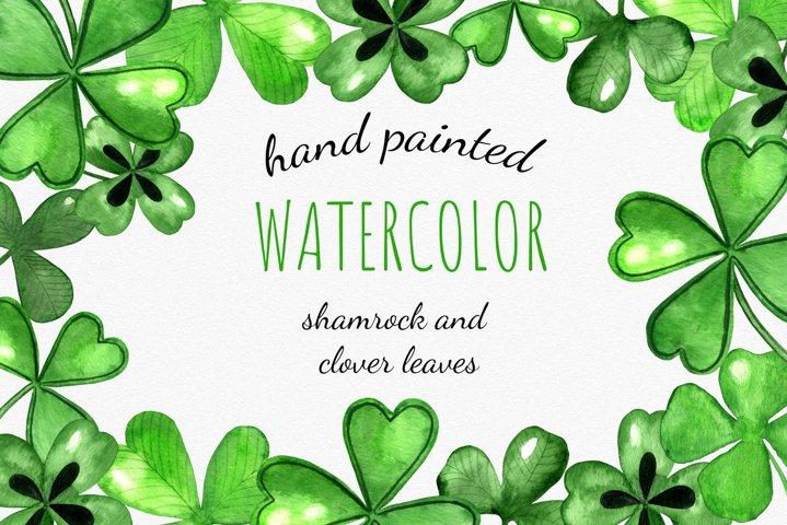Set of St. Patricks Watercolor Shamrock Cliparts