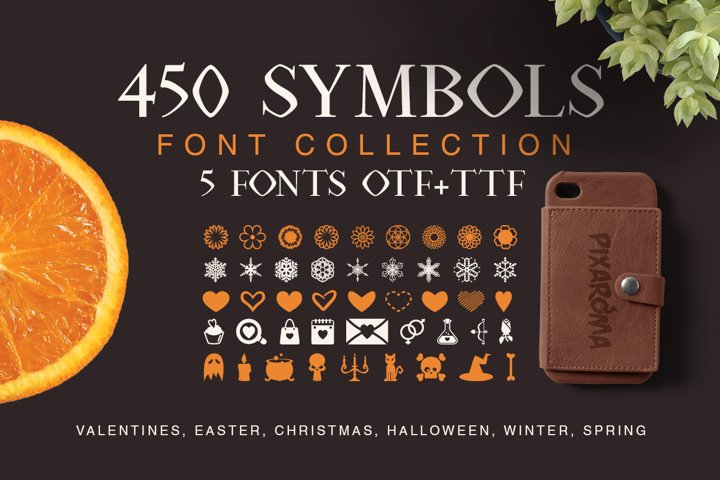Symbols Font Collection - 450 Elements