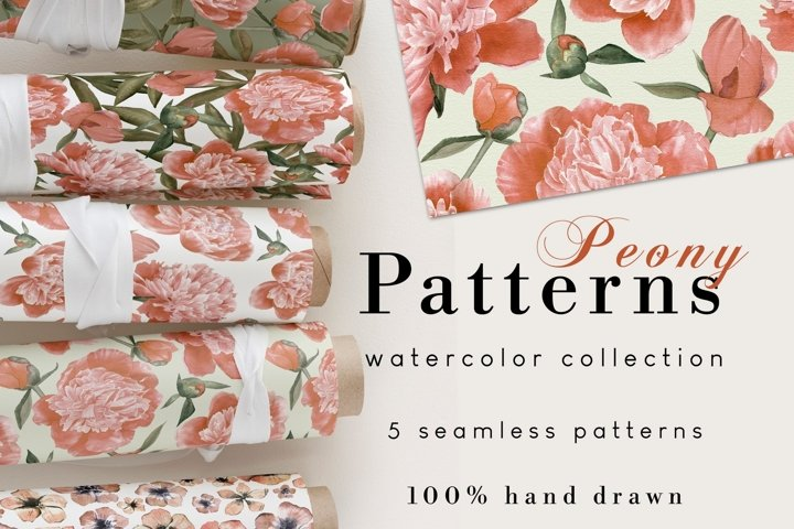 Watercolor Seamless Peony Pattern Set of 5