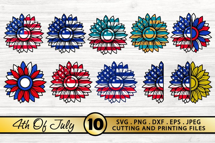 4th of July SVG PNG DXF EPS Patriotic Sunflowers SVG Bundle