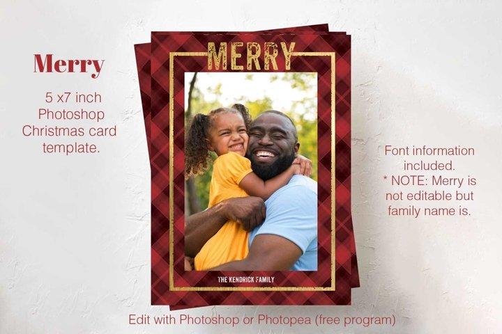 Merry Plaid Photoshop Christmas card template.