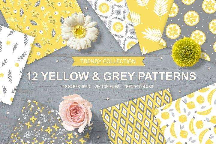 12 Yellow & Grey Seamless Patterns