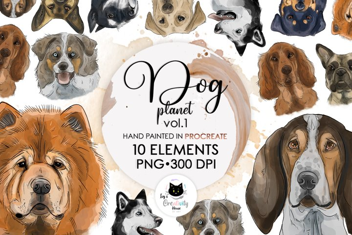 Hand Drawn Dog Breed Portrait | Dog Sublimation Bundle
