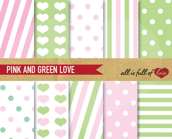 Pink and Lime Green Patterns Valentines Digital Paper Pack