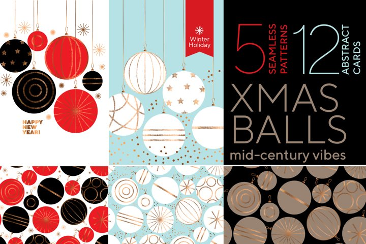 Mid-century vibes laconic Xmas baubles patterns
