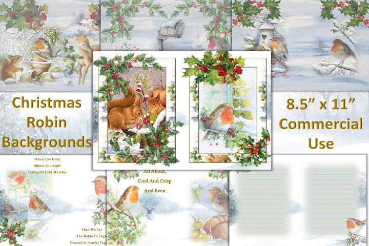 Printable Christmas Robin Collage Sheets. Backgrounds