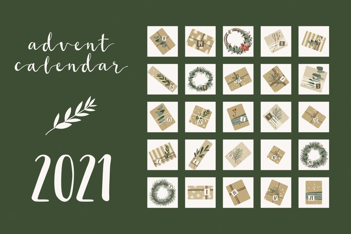 Advent Calendar 2021. Gifts, wreaths. Xmas and New Year