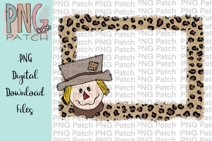 Torn Edge Leopard Print Frame with Snowman, Winter PNG File