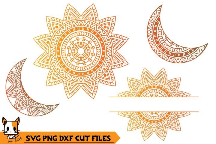 Sun & Moon Monogram - Mandala SVG PNG DXF Cut Files