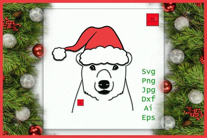 Christmas Bear SVG, Bear Santa Hat SVG File, Bear with Hat