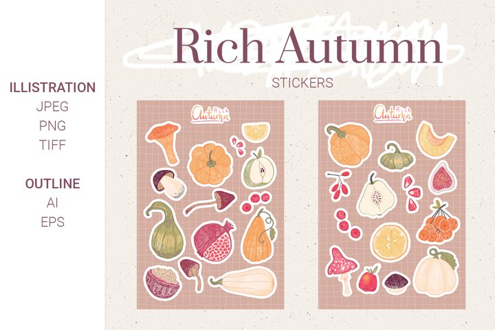 Autumn Stickers. Fall elements
