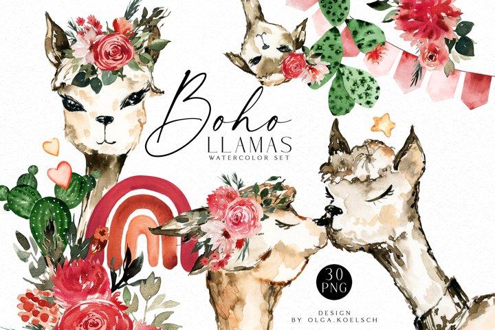 Boho llamas clipart, Watercolor Llama birthday, love llamas