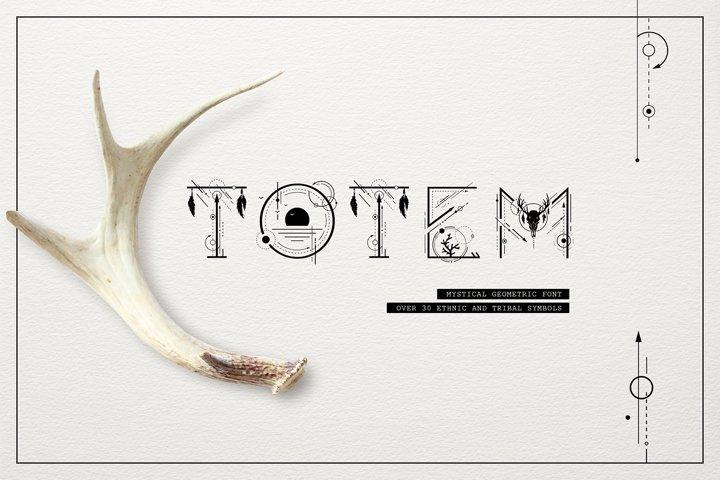 Totem. Mystical Geometric Font & Graphic Elements
