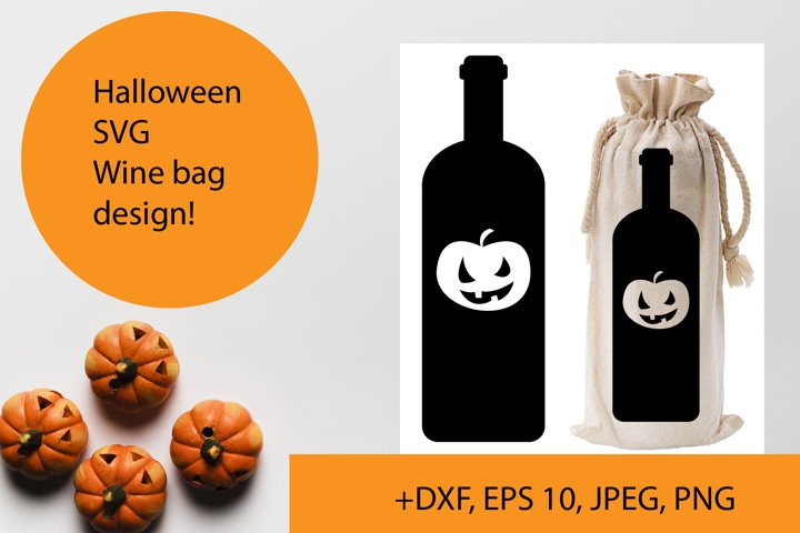Halloween wine bag SVG design