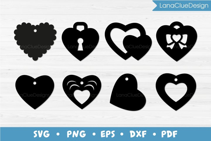 8 Heart Shaped Gift Tags SVG