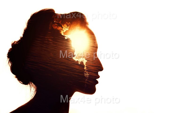 Multiple exposure portrait of a woman. The sun behind