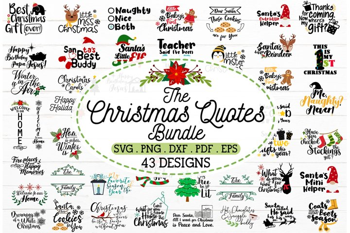 2 in 1 Christmas quotes bundle SVG,winter holiday decal svg