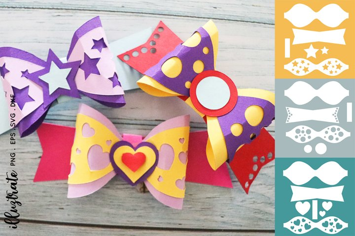Bow Template SVG | Paper Craft Bows SVG | Bow SVG Cut File