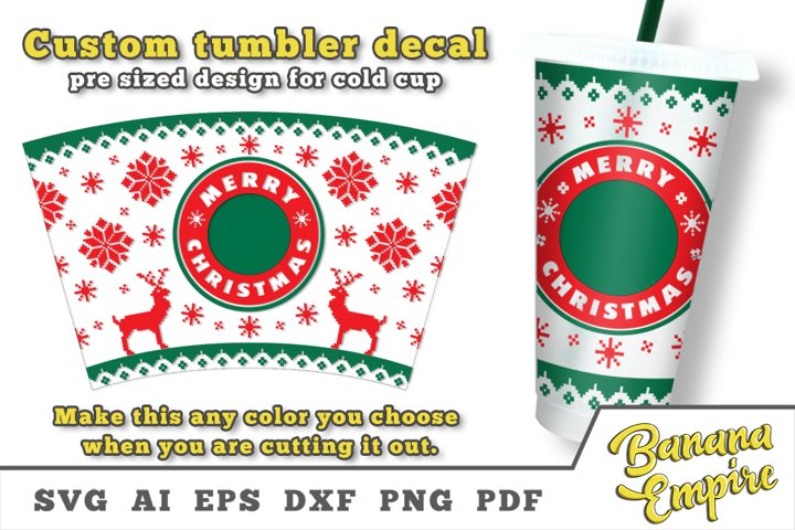 Christmas cold cup decal, Merry Christmas SVG, Sublimation