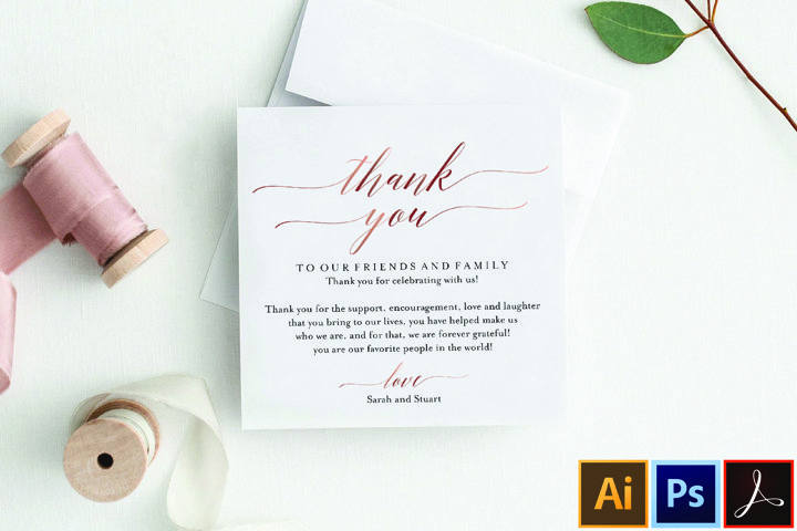 Rose Gold Wedding Thank You Card, Thank You Printable