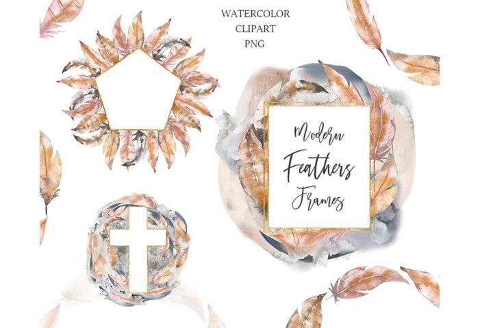 Watercolor Abstract Feathers Frame