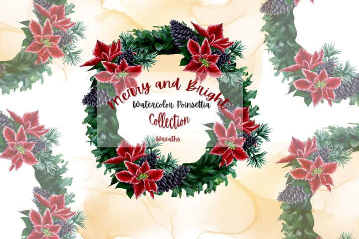Merry and Bright - Watercolor Poinsettia Wreaths