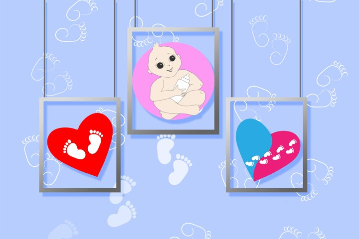 Baby set with hearts and footprint