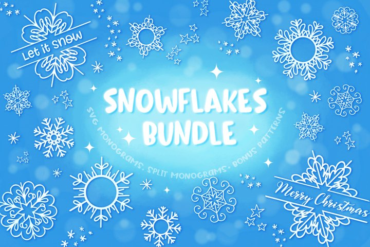 Snowflakes Bundle- SVG Monograms & Bonus Patterns