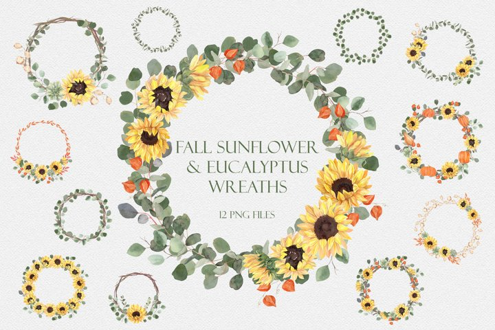 Fall Sunflowers and Eucalyptus Wreaths - Watercolor Clipart