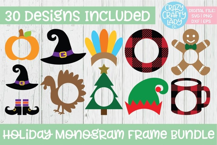 Holiday Monogram Frame SVG DXF EPS PNG Cut File Bundle