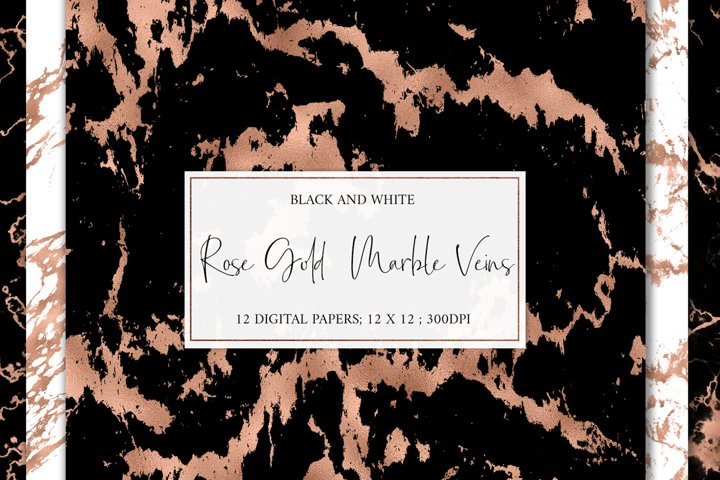 Rose Gold Marble Veins Digital Paper Backgrounds Textures