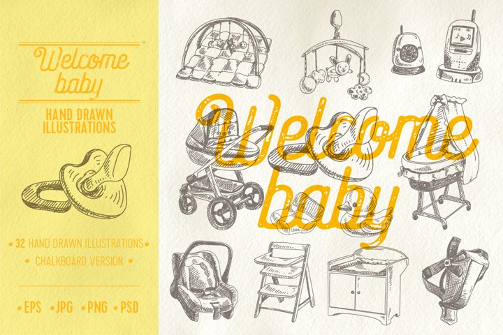 Vector hand drawn welcome baby illustrations