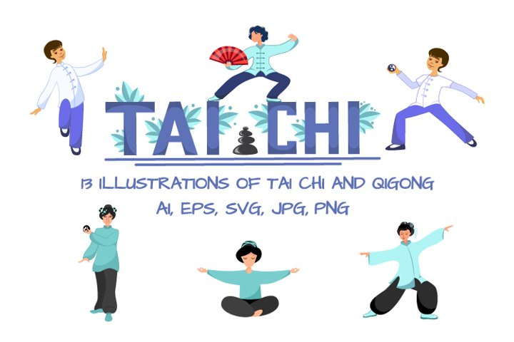13 illustrations of Tai Chi and Qigong for your design.