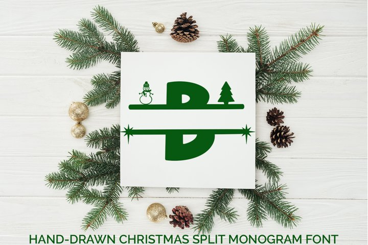 Hand-Drawn Christmas Split Monogram Font
