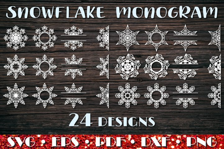 Christmas monogram, Snowflake Split Monogram