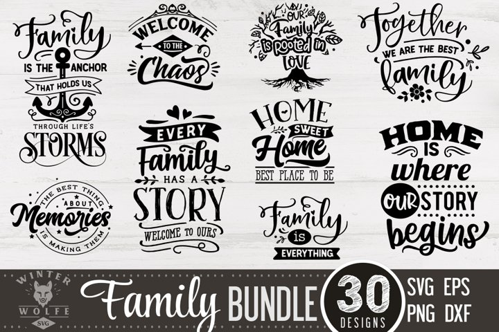 Family Bundle 30 designs SVG EPS DXF PNG